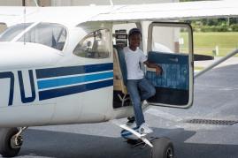 Jay on plane
